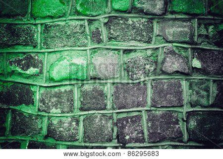 Dark Green Grunge Background Of Stone Wall Texture