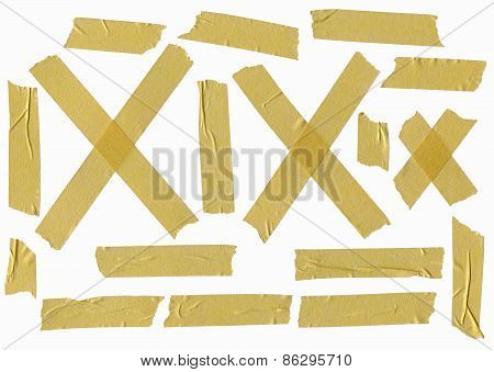 Set Of Duct Tape Slices Isolated On White