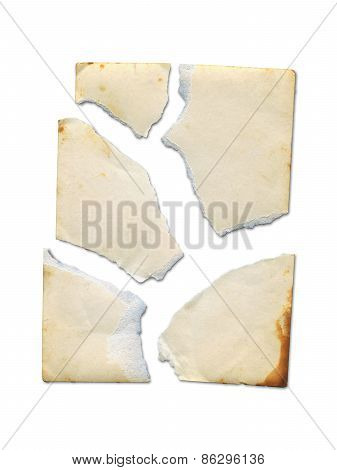 Torn Old Photo On White Background.(clipping Path)