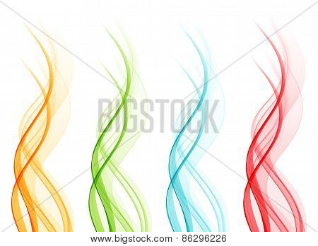 Set of abstract four color wavy lines