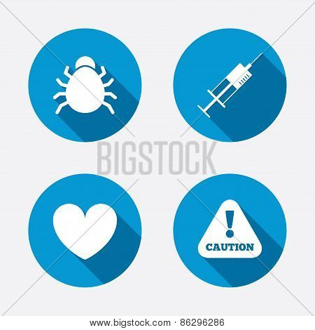 Bug and vaccine signs. Heart and spray can icons