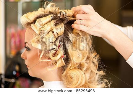 young woman in a beauty salon