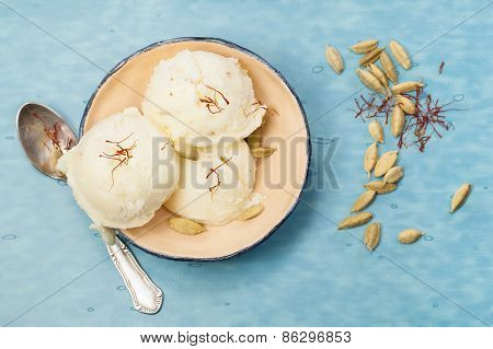 Saffron and Cardamom Ice Cream