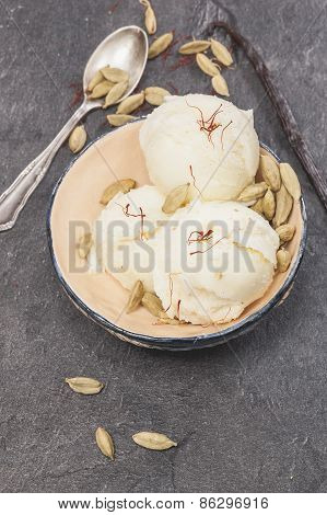 Saffron, cardamom and vanilla ice cream