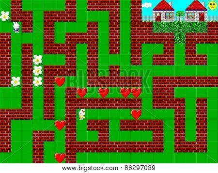 Maze, Retro Style Game Pixelated Graphics