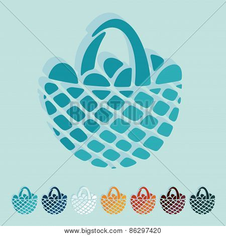 Flat design. easter basket