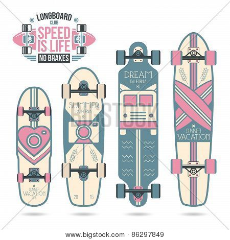 Trendy Print On A Longboard