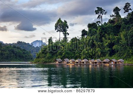 Bamboo Huts Floating In A Thai Village, Cheow Lan Lake