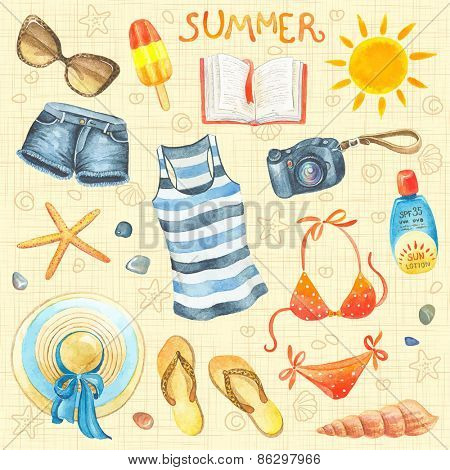 Collection of summer watercolor elements, set 1.