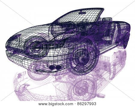 Framework of Model Car on White Background