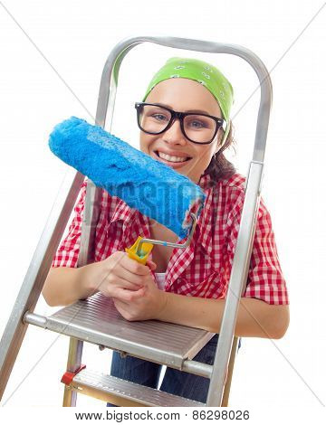 Smiling Girl On Ladder With Roller Ready For Renovating Or Wall Painting, Isolated On White