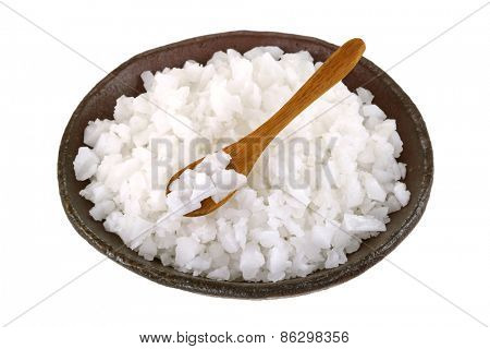 A bowl of clean natural Sea Salt isolated on white background
