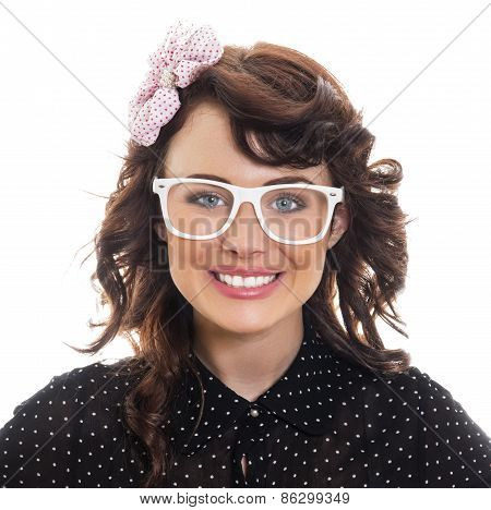 Portrait Of A Happy Smile Woman Wearing Eyeglasses Isolated On White. Close Up Of Cute Young Girl