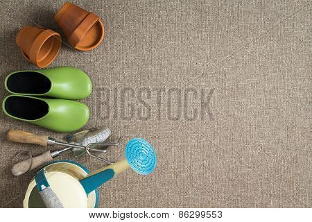 Border Of Gardening Tools And Equipment