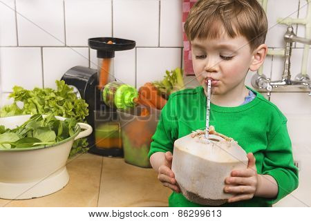 Cute Toddler With A Fresh Coconut