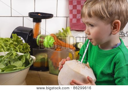 Cute Boy Drinking Coconut Water