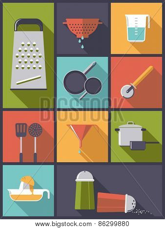 Cooking Utensils flat icons vector illustration. Vertical flat design illustration with various cooking utensil symbols
