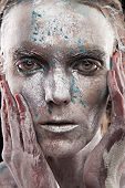 image of fine art portrait  - portrait of beautiful woman with silver bodyart and face art - JPG
