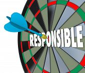picture of trustworthiness  - Responsible word on a dart board to illustrate the need to be accountable - JPG