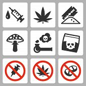 foto of illegal  - Illegal drugs vector icons set over white - JPG