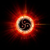 pic of triskelion  - Black Bdsm sign on red circle abstract - JPG
