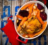 image of root-crops  - The chicken baked with root crops - JPG