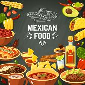 stock photo of mexican  - Mexican food background with traditional spicy meal and chalkboard hat vector illustration - JPG