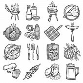 image of food preparation tools equipment  - Bbq grill sketch decorative icons set with meat sauces and kitchen equipment isolated vector illustration - JPG