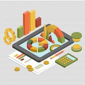 picture of isometric  - Flat 3d isometric business finance analytics - JPG
