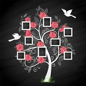 stock photo of substitutes  - Memories tree with photo frames - JPG