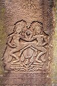 image of building relief  - Ancient stone relief in Angkor Wat - JPG