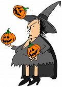 foto of juggling  - This illustration depicts a Halloween witch juggling three carved pumpkins - JPG