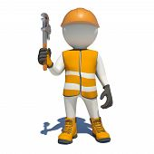 foto of adjustable-spanner  - White man in special clothes with adjustable spanner in hand - JPG
