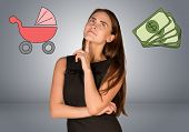 image of buggy  - Business woman with money and buggy - JPG