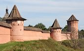 pic of fortified wall  - Walls of Monastery of Saint Euthymius in Suzdal - JPG