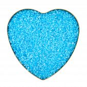image of crystal salt  - Heart shaped box filled with blue colored salt crystals - JPG