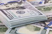 picture of 100 dollars dollar bill american paper money cash stack  - Hundred dollars banks note money as a background - JPG
