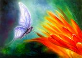 stock photo of flying-insect  - Butterfly flying towards a bright orange flower beautiful detailed colorful oil painting on canvas - JPG