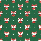 stock photo of cunning  - Seamless pattern with fox and tree vector background - JPG