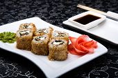 image of soy sauce  - California roll sushi with pickled ginger - JPG