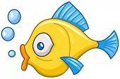 stock photo of animated cartoon  - Cartoon fish with bubbles - JPG