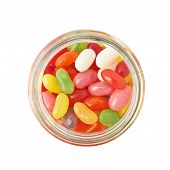 stock photo of jar jelly  - Jar full of jelly bean candy sweets - JPG