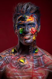 picture of mauri  - A creepy portrait of a pierced halloween moor with bloody body art - JPG