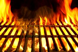 picture of braai  - Empty Barbecue Clean Hot Flaming Grill Close-up Background Isolated