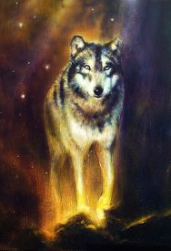 image of canvas  - Wolf portrait mighty cosmical wolf walking from light beautiful detailed oil painting on canvas - JPG