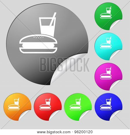 Lunch Box Icon Sign. Set Of Eight Multi Colored Round Buttons, Stickers. Vector