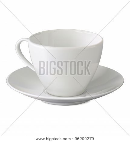 Empty White Cup And Saucer On White Background. Illustration