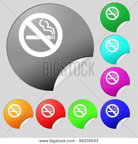 No Smoking Icon Sign. Set Of Eight Multi Colored Round Buttons, Stickers. Vector
