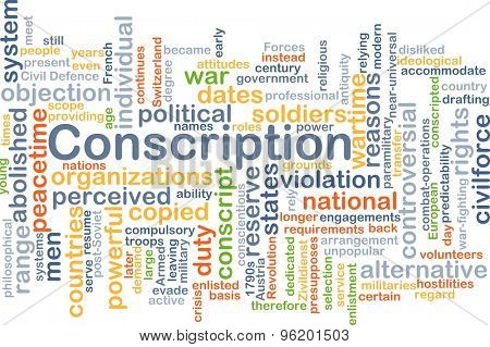 Background concept wordcloud illustration of conscription