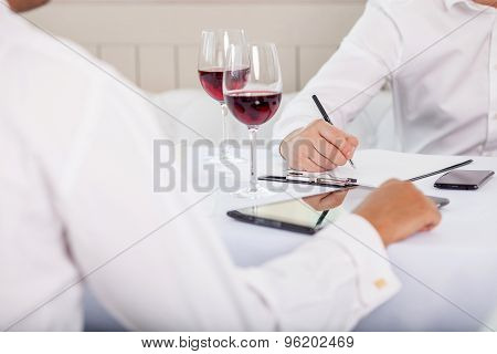 Successful business partners have a meeting in restaurant